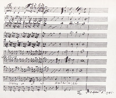 Handel's ms. of the end of the Hallelujah chorus, 1741.