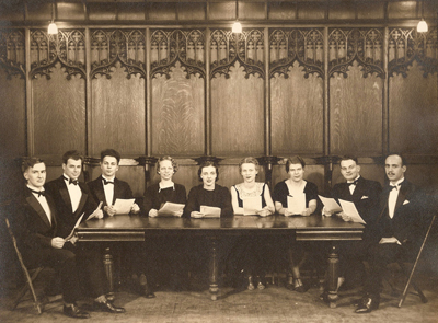 A chamber choir at Case in the late 1930s. L-R: Alfred Wright, Bill Newman, Maurice Goldman, Gretchen Nobis (Garnett), Ruth Hyde, Betty Pergande, Carolyn Gillette, Donald Dame, James Aliferes.