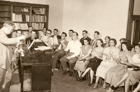 Choir of St. Paul's Episcopal Church, Cleveland Hts., with Walter Blodgett. Gretchen Garnett is in the front row, third from right.