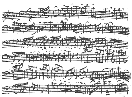 Bach Cello Suite in C, manuscript