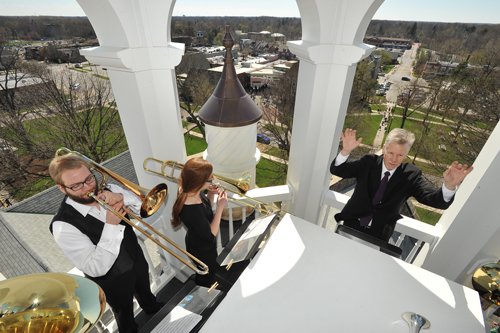 John Brndiar and the Festival Brass atop Marting Tower